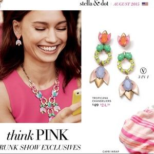 Stella Dot Tropicana versatile earrings, 3 in1 new
